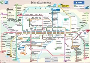 Схема городской железной дороги Мюнхена